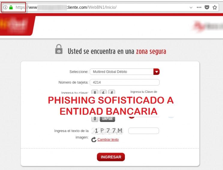 Nueva campaña de Phishing sofisticado a entidad bancaria